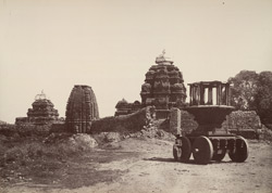Purudkul. Group of temples with idol car. [Pattadakal.]